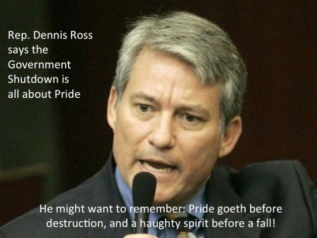 Rep Dennis Ross (The Shutdown Is about pride)